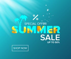 Special offere sale summer poster vector 04