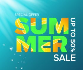Special offere sale summer poster vector 07