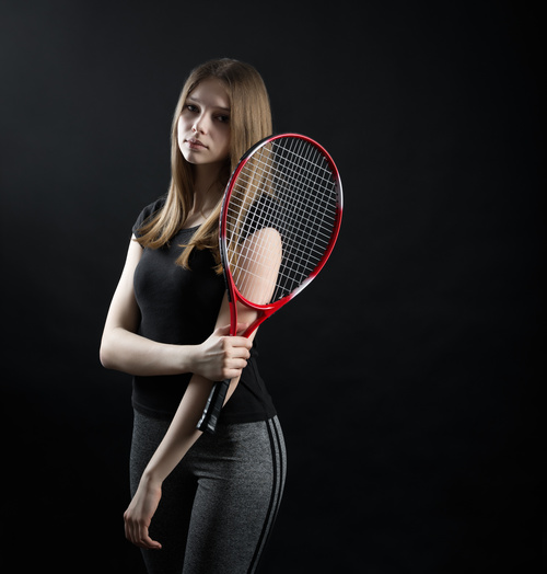 Sporty Teen Girl Tennis Player with Racket Stock Photo 01