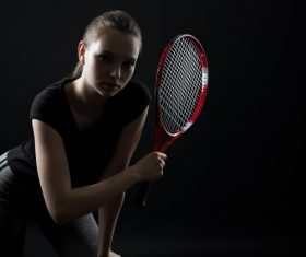 Sporty Teen Girl Tennis Player with Racket Stock Photo 04