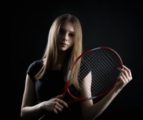 Sporty Teen Girl Tennis Player with Racket Stock Photo 05
