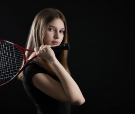 Sporty Teen Girl Tennis Player with Racket Stock Photo 06