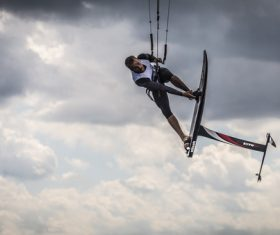Sporty man extreme with sky sliding sports Stock Photo