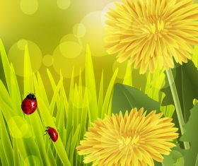 Spring fresh flower and blurs background vector 01