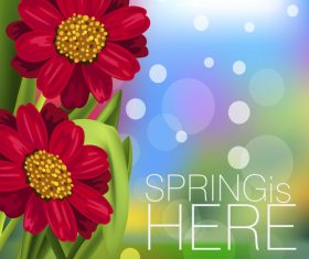 Spring fresh flower and blurs background vector 05