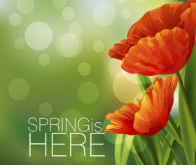 Spring fresh flower and blurs background vector 08