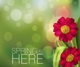 Spring fresh flower and blurs background vector 09