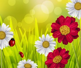 Spring fresh flower and blurs background vector 10
