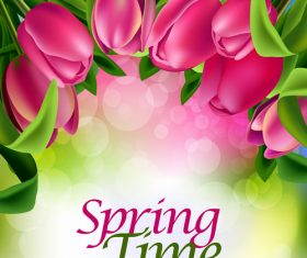 Spring tulip and blurs background vector 06