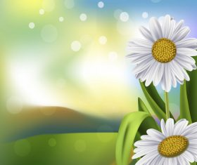 Spring white flower and blurs background vector 05