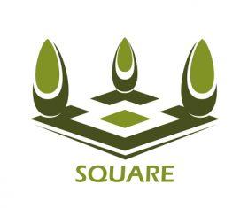 Square garden design logos vector material