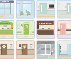 Square hospital icons vector 02