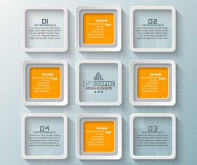 Square lattice infographic vector template