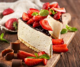 Strawberry Chocolate Cake Dessert Stock Photo
