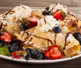 Strawberry and Blueberry Ice Cream Pancake Dessert Stock Photo 01
