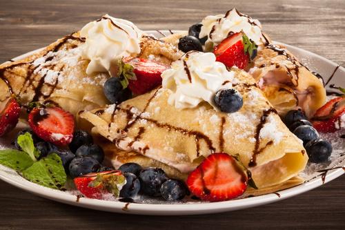Strawberry and Blueberry Ice Cream Pancake Dessert Stock Photo 01