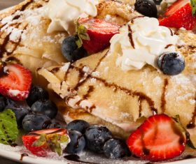 Strawberry and Blueberry Ice Cream Pancake Dessert Stock Photo 02