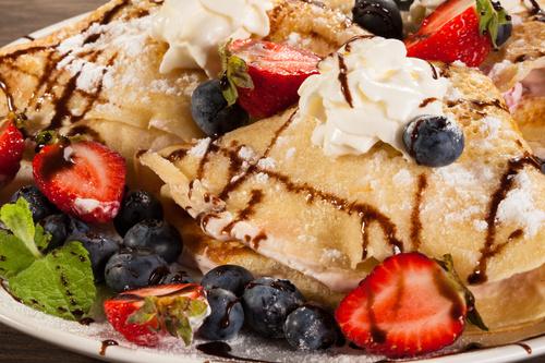 Strawberry and Blueberry Ice Cream Pancake Dessert Stock Photo 02