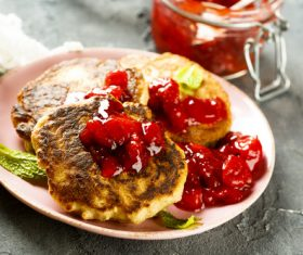 Strawberry jam and pancakes Stock Photo 01