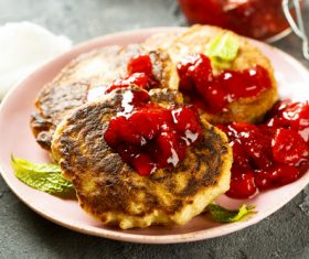 Strawberry jam and pancakes Stock Photo 02