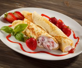 Strawberry pancake dessert Stock Photo 01