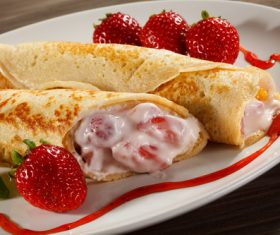 Strawberry pancake dessert Stock Photo 02
