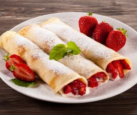 Strawberry pancake dessert Stock Photo 03