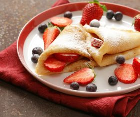 Strawberry pancake dessert Stock Photo 06