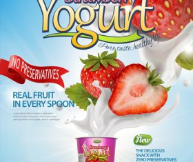 Strawberry yogurt advertising poster template vector 02