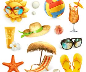 Summer beach set of vector icons