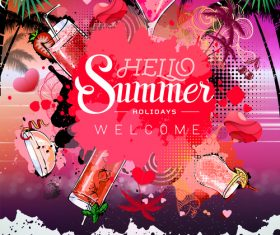 Summer holiday cocktail party poster template vectors 01