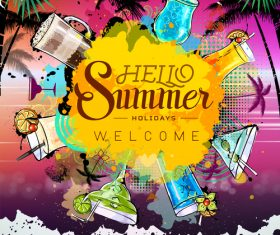 Summer holiday cocktail party poster template vectors 02
