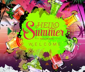 Summer holiday cocktail party poster template vectors 03