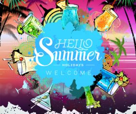 Summer holiday cocktail party poster template vectors 04