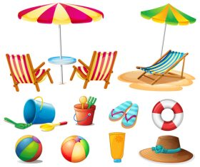 Summer holiday travel elements vector set