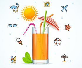 Summer juice with travel icon vector