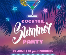 Summer night party vectors poster 01