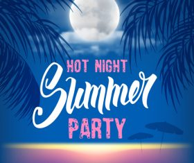 Summer night party vectors poster 02