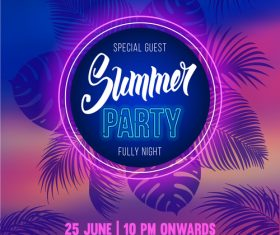 Summer night party vectors poster 03