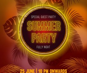 Summer night party vectors poster 04