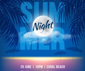 Summer night party vectors poster 05