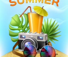 Summer poster cover template vector 03