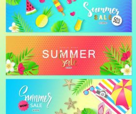 Summer sale banners template vector 01