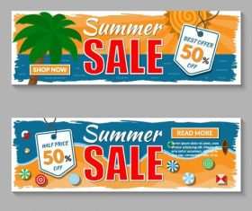Summer sale banners template vector 03