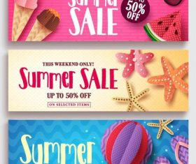 Summer sale banners template vector 04