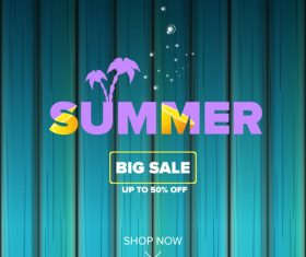 Summer sale poster with wooden background vector 01