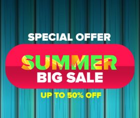 Summer sale poster with wooden background vector 03