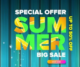 Summer sale poster with wooden background vector 04