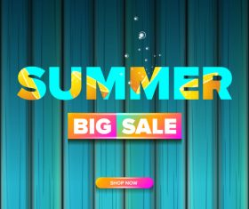 Summer sale poster with wooden background vector 05