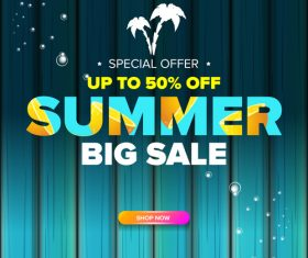 Summer sale poster with wooden background vector 06